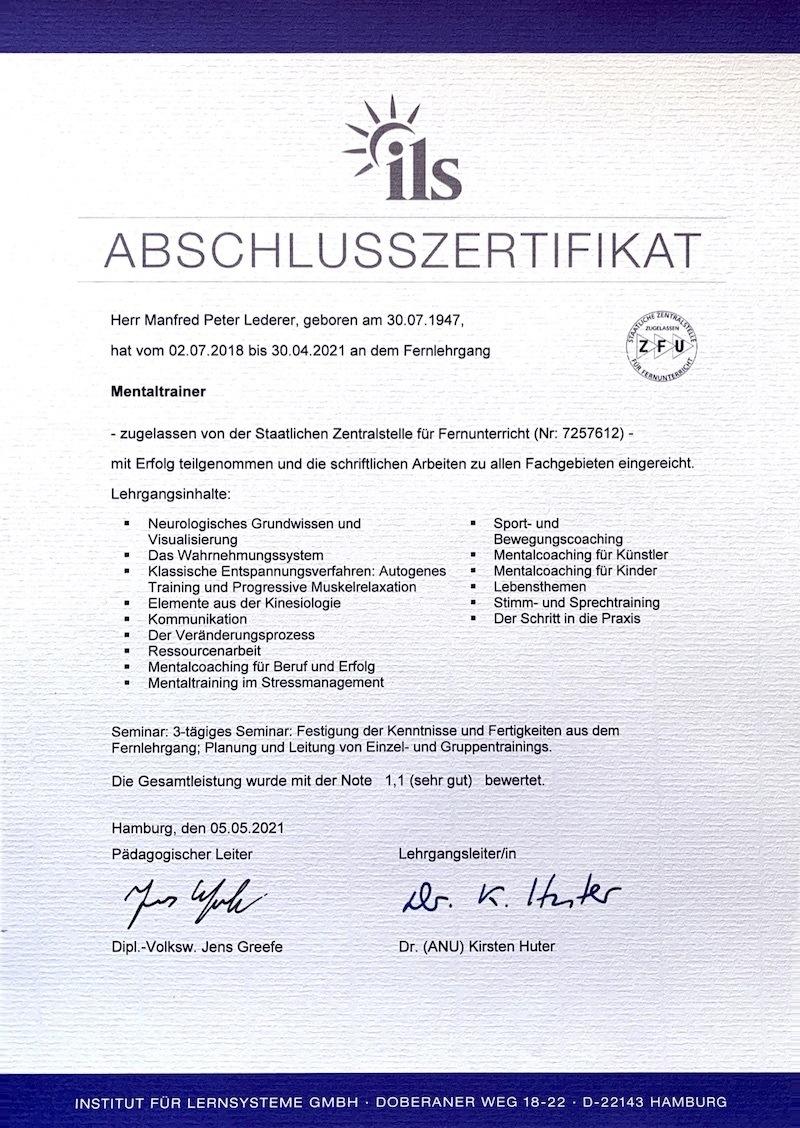 Mentaltrainer Zertifikat ILS Kopie
